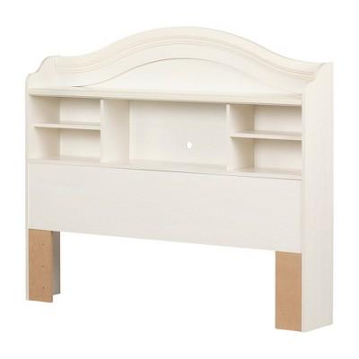 Full Summer Breeze Bookcase Headboard   White Wash  - South Shore