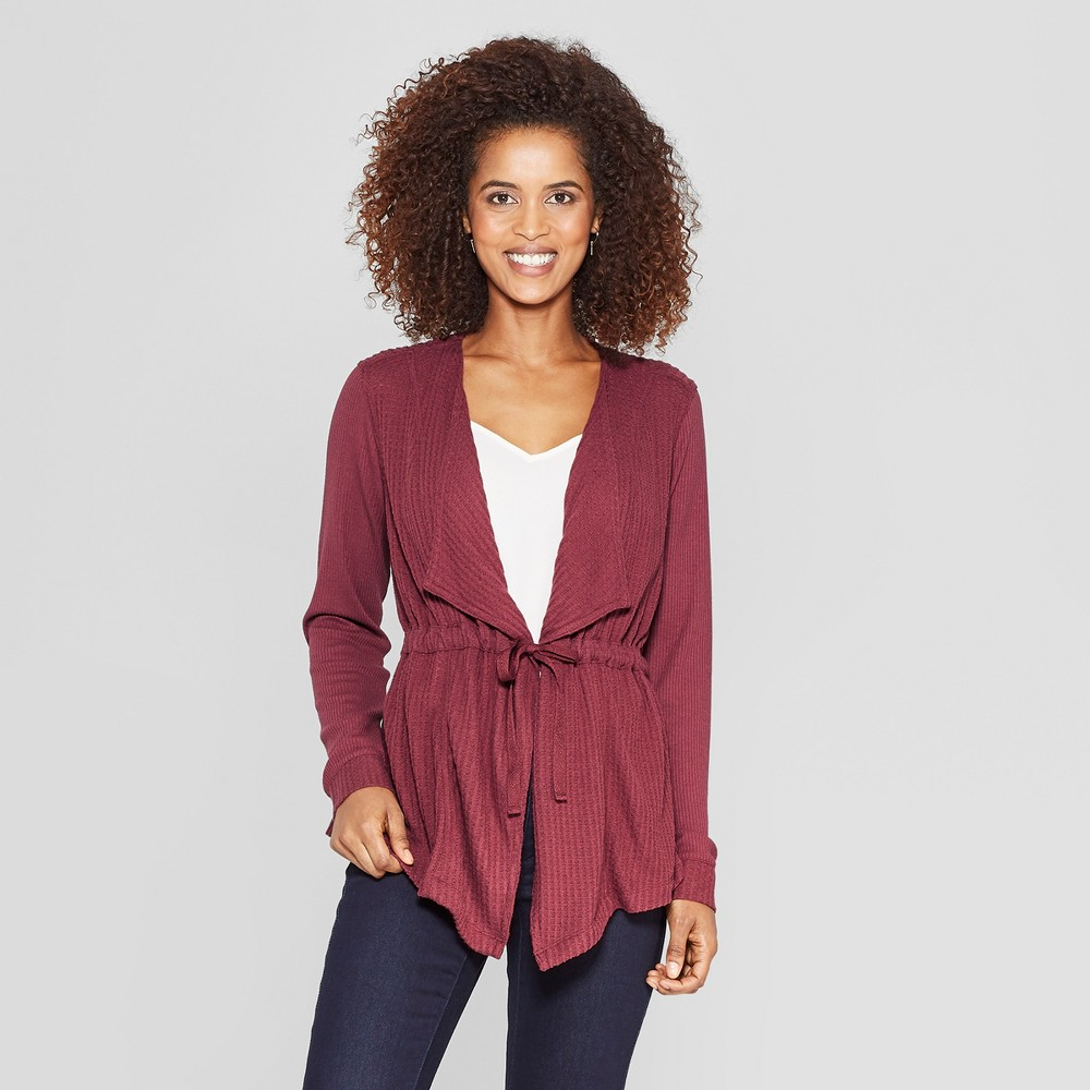 Women's Long Sleeve Waffle Open Cardigan - Knox Rose Burgundy Xxl, Red
