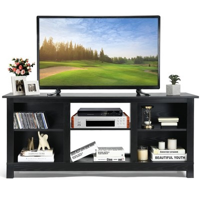 Costway 2-Tier 58'' TV Stand Entertainment Media Console Center Up to 65'' Grey\Black\Walnut