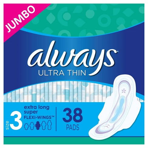 Always Ultra Thin Pads Extra Super Long Absorbency Unscented with Wings - Size 3 - 38ct - image 1 of 4