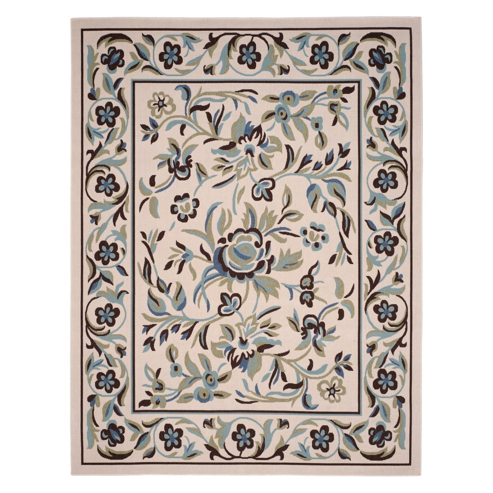 8'X10' Floral Loomed Area Rug Cream/Green - Safavieh, Beige
