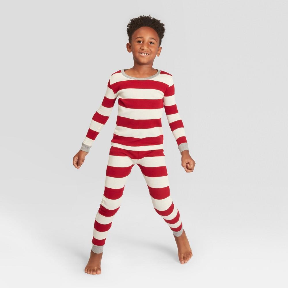 Burt's Bees Baby Kids' Striped Holiday Organic Cotton Rugby Pajama Set - Red L, Kids Unisex