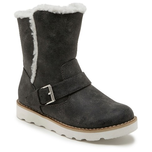 Girls' Revel Devin Faux Fur Lined Motto Boots - Gray 3 - image 1 of 4