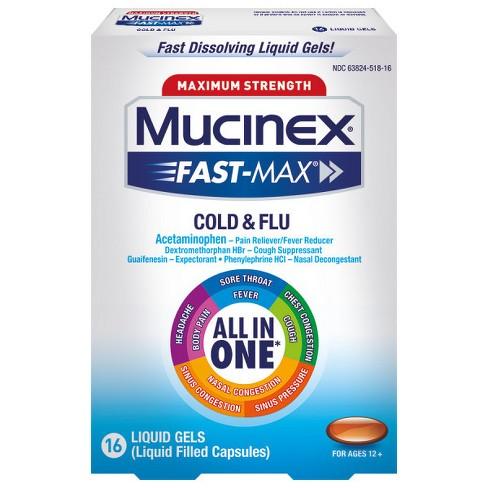 Mucinex Fast Max Cold Flu Relief Liquid Gels Acetaminophen 16ct Target