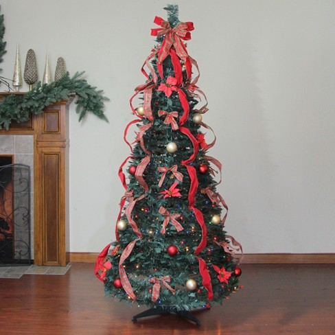 Northlight 6 Prelit Artificial Christmas Tree Gold And Red Plaid Decorated Pop Up Multi Color Lights