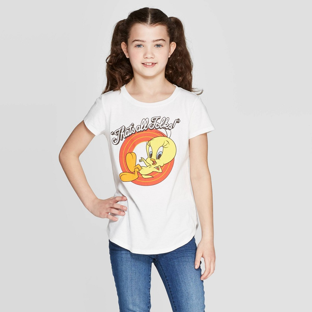 "Image of ""petiteGirls' Tweety """"That's All Folks"""" Short Sleeve T-Shirt - White L, Girl's, Size: Large"""