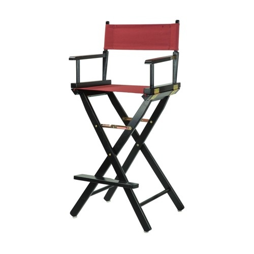 Bar-Height Director's Chair - Black Frame, Beige Canvas, Red