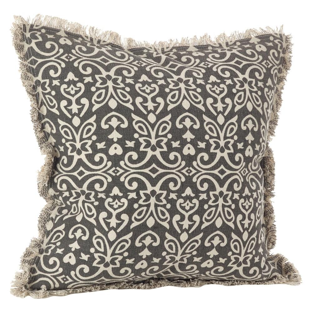 Black Naxos Design Throw Pillow (20) - Saro Lifestyle, Slate Black