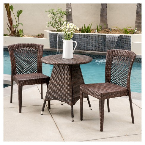 Neal 3-Piece Wicker Patio Bistro Set - Brown - Christopher Knight Home - image 1 of 4