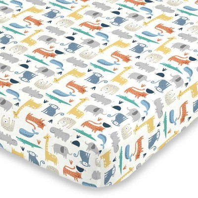 Carter's Colorful Modern Safari Animals Super Soft Fitted Crib Sheet