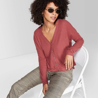 Women's Long Sleeve V Neck Button Front Thermal Top   Wild Fable™ Berry by Wild Fable