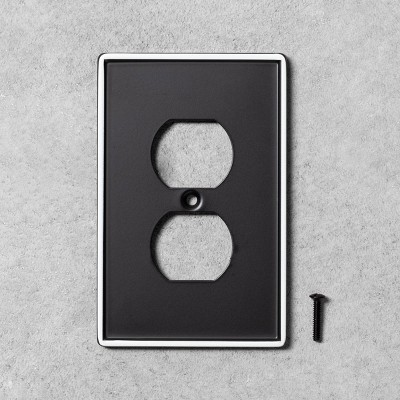2pk Single Duplex Outlet Plate Black Metal - Hearth & Hand™ with Magnolia