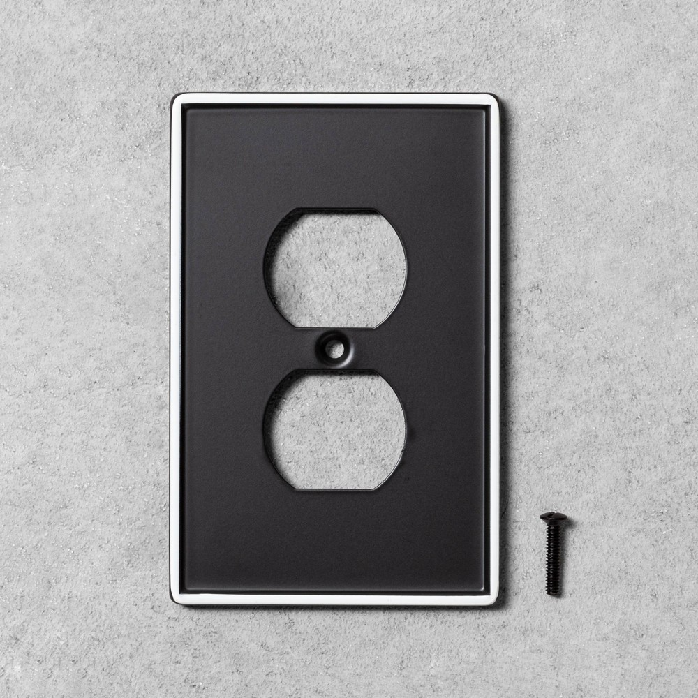 Image of 2pk Single Duplex Outlet Plate Black Metal - Hearth & Hand with Magnolia