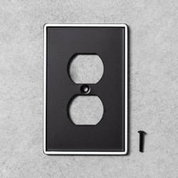 2pk Metal Painted Enamel Outlet Switch Plate Black - Hearth & Hand™ with Magnolia