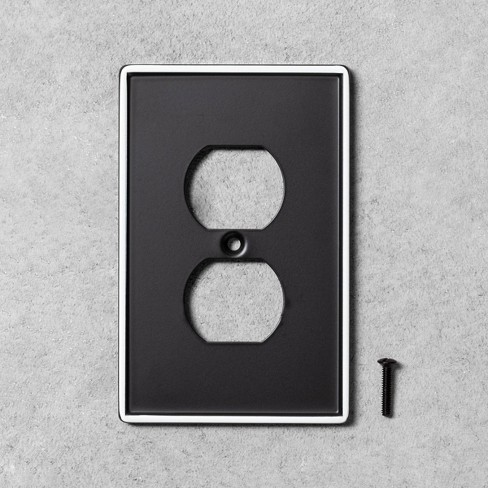 2pk Metal Painted Enamel Outlet Switch Plate Black - Hearth & Hand™ with Magnolia - image 1 of 1