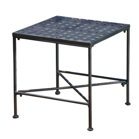 Petra Square Iron Patio Side Table Black Christopher Knight Home