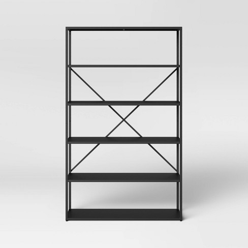 Glasgow 5 Shelf Metal Bookcase Black - Project 62™ - image 1 of 4