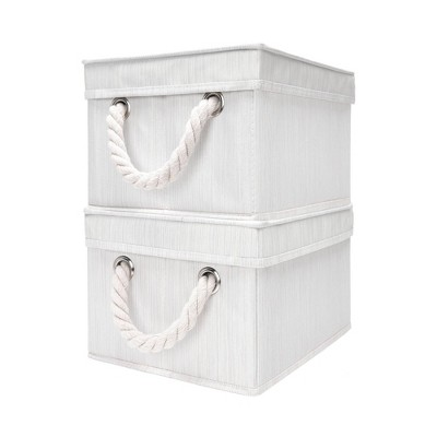 StorageWorks Set of 2 (20L) Storage Bin with Lid and Cotton Rope Handles