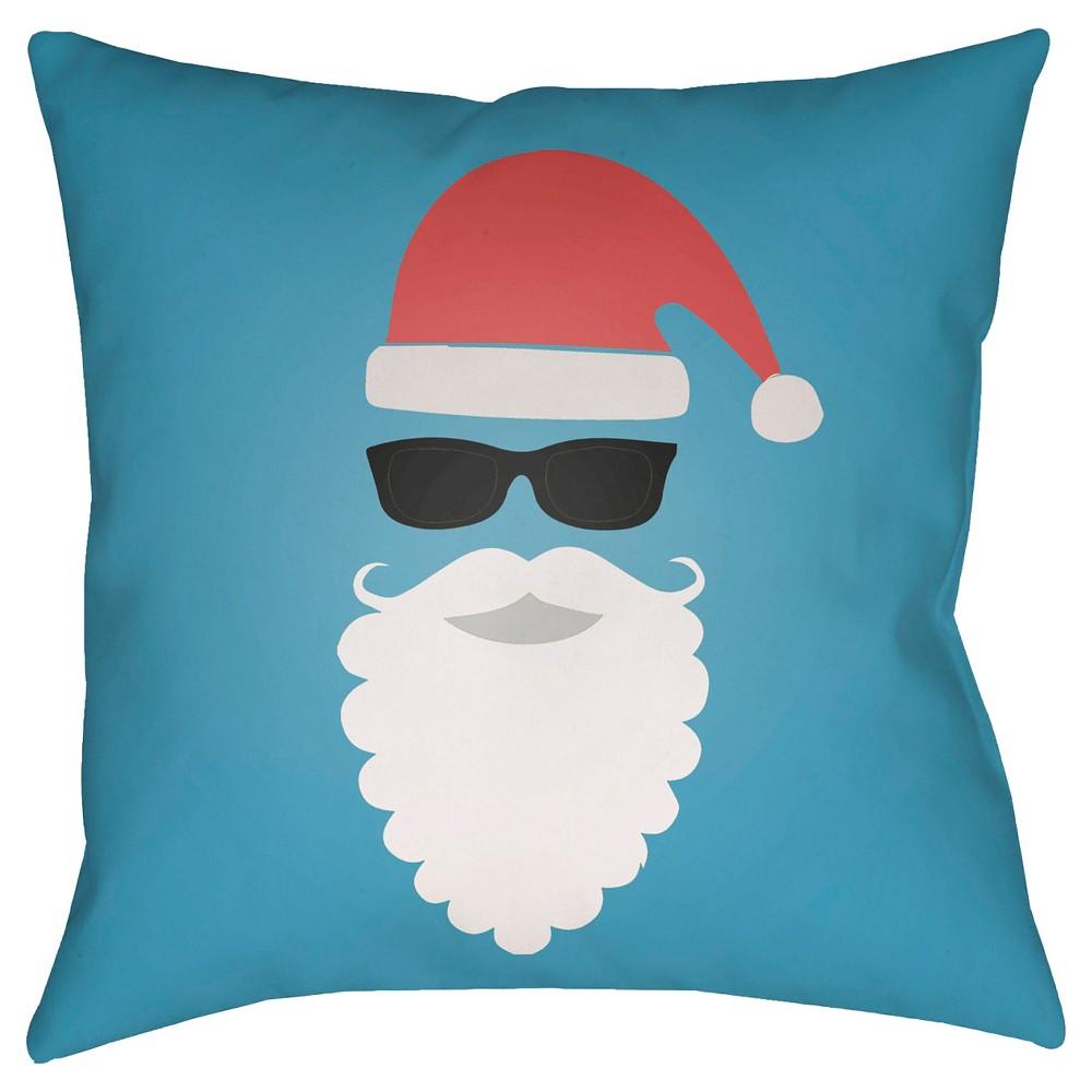 Blue Cool Santa Throw Pillow 20