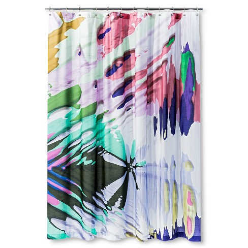 Fleck Shapes Shower Curtain Black/Green/Pink - AiR - image 1 of 1