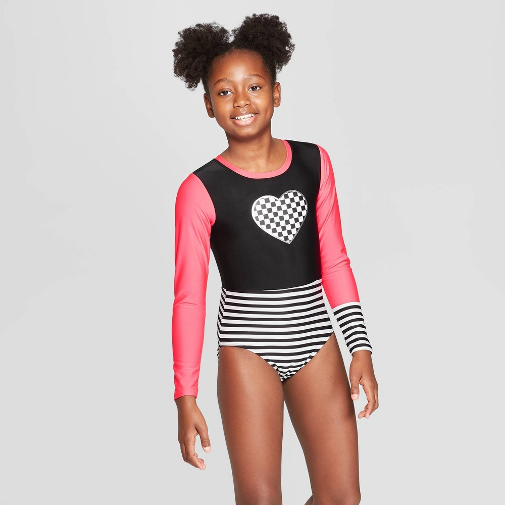 Girls' Skater Long Sleeve One Piece Swimsuit - art class Black L