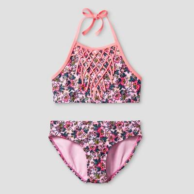 Girls' High Neck Fringe Floral Bikini - Xhilaration™ Pink S