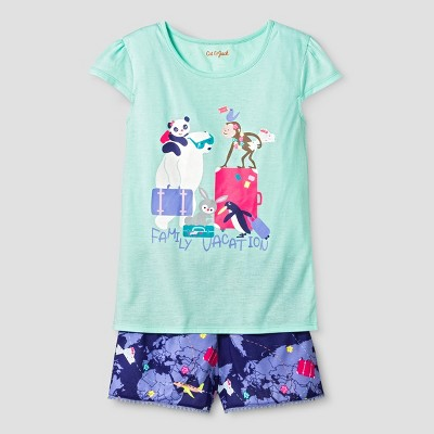 Girls' Pajama Set - Cat & Jack™ Aqua M