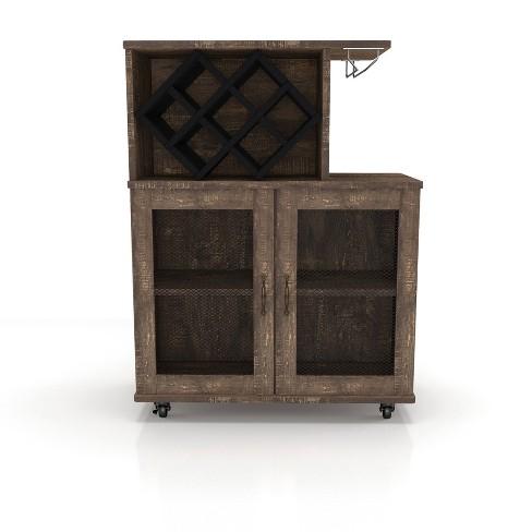 Morse Farmhouse Mobile Wine Cabinet Reclaimed Oak - HOMES: Inside + Out - image 1 of 4