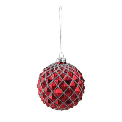 Northlight 3 25 Glittered Glass Ball Christmas Ornament Red Silver