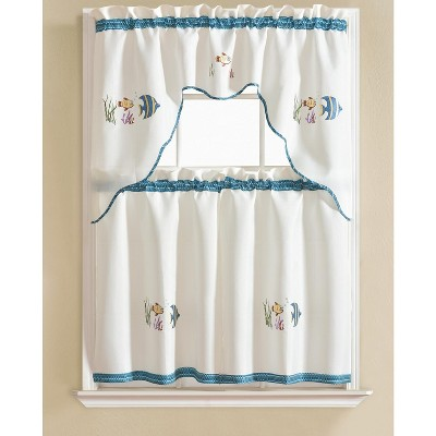 Ramallah Trading Grand Fish Embroidered Kitchen Curtain - 60 x 36, White