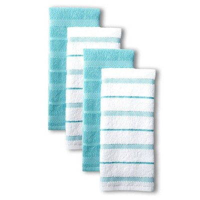 KitchenAid 4pk Albany Strpe Kitchen Towels - Light Blue/White
