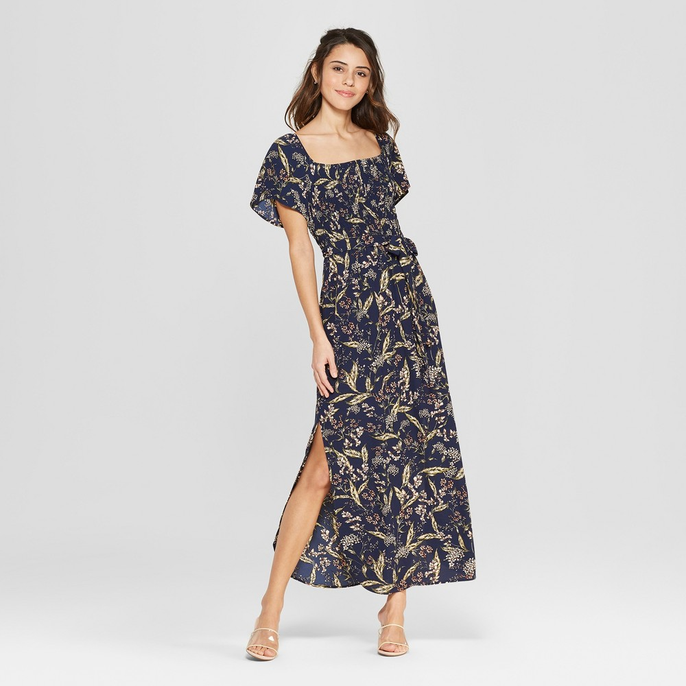 Women's Floral Print Short Sleeve Smocked Top Maxi Dress with Side Slit - Xhilaration Navy (Blue) S