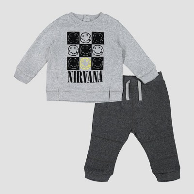 Baby Boys' Nirvana 2pc Fleece Top & Bottom Set - Gray 12M