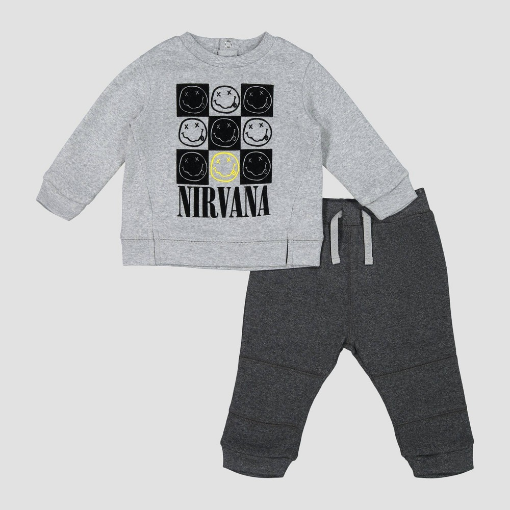 Image of Toddler Boys' Nirvana 2pc Fleece Top & Bottom Set - Gray 0-3M, Boy's