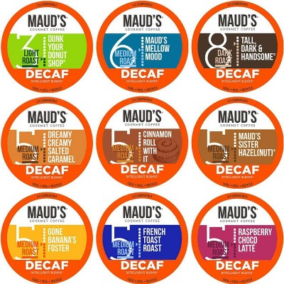 Maud's Decaf Coffee Variety Pack, 80ct. Recyclable Single Serve Decaf Coffee Pods - 100% Arabica Coffee California Roasted, Decaf KCups Compatible