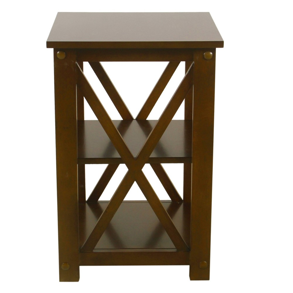 Square Wood Accent Table with Shelf Storage Dark Walnut Brown - HomePop was $129.99 now $97.49 (25.0% off)