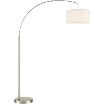 360 Lighting Modern Arc Floor Lamp Brushed Steel Off White Linen Drum Shade for Living Room Reading Bedroom Office