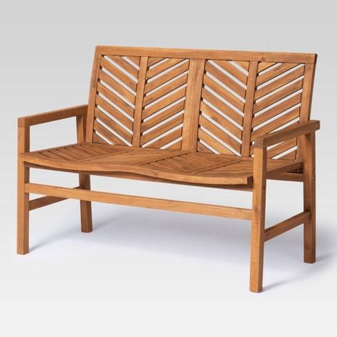48 Wood Patio Love Seat Brown