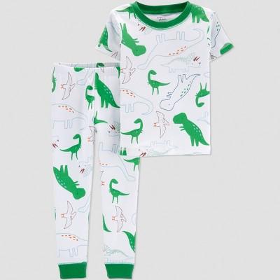 Little Plant Organic by carter's Baby Boys' Dino Pajama Set - Green/White 18M