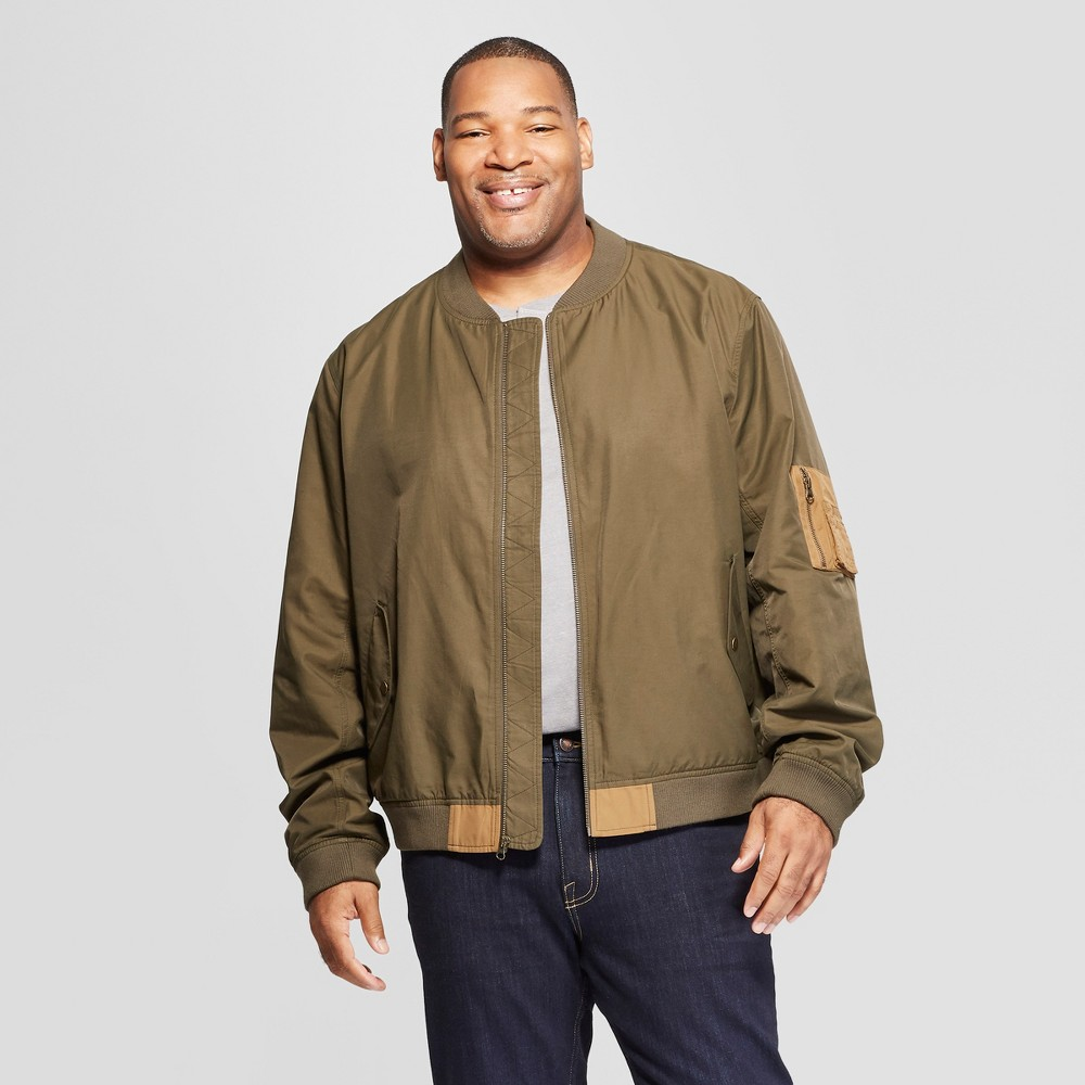 Men's Big & Tall Colorblock Bomber Jacket - Goodfellow & Co Tuscan Olive 2XB, Green