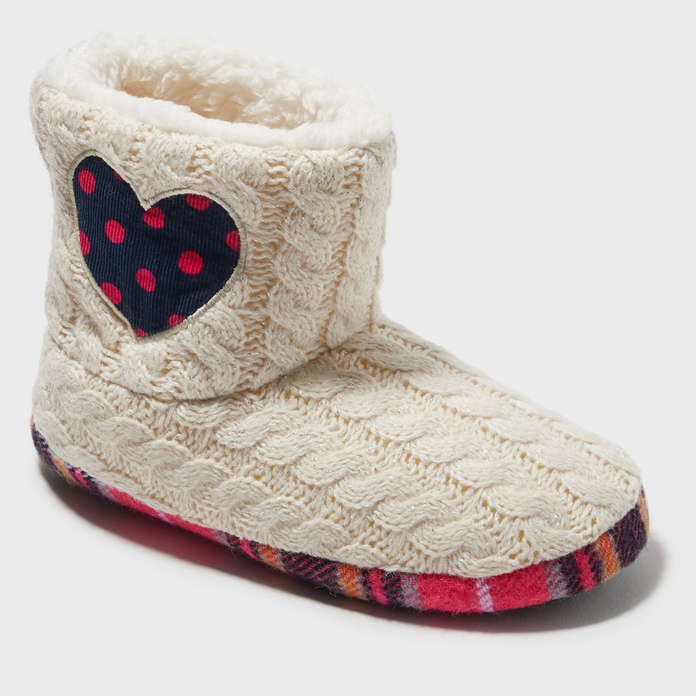 Image of Girls' Dearfoams Bootie Slippers - Off White 11-12, Girl's