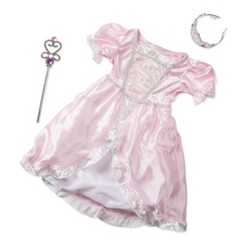 Melissa & Doug Princess Role Play Costume Set (3pc)- Pink Gown, Tiara, Wand, Women's, Size: Small