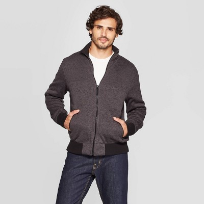Men's Standard Fit Full Zip Sweater Fleece Jacket - Goodfellow & Co™ Gray XL