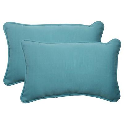 Outdoor 2-Piece Lumbar Toss Pillow Set - Turquoise Forsyth Solid