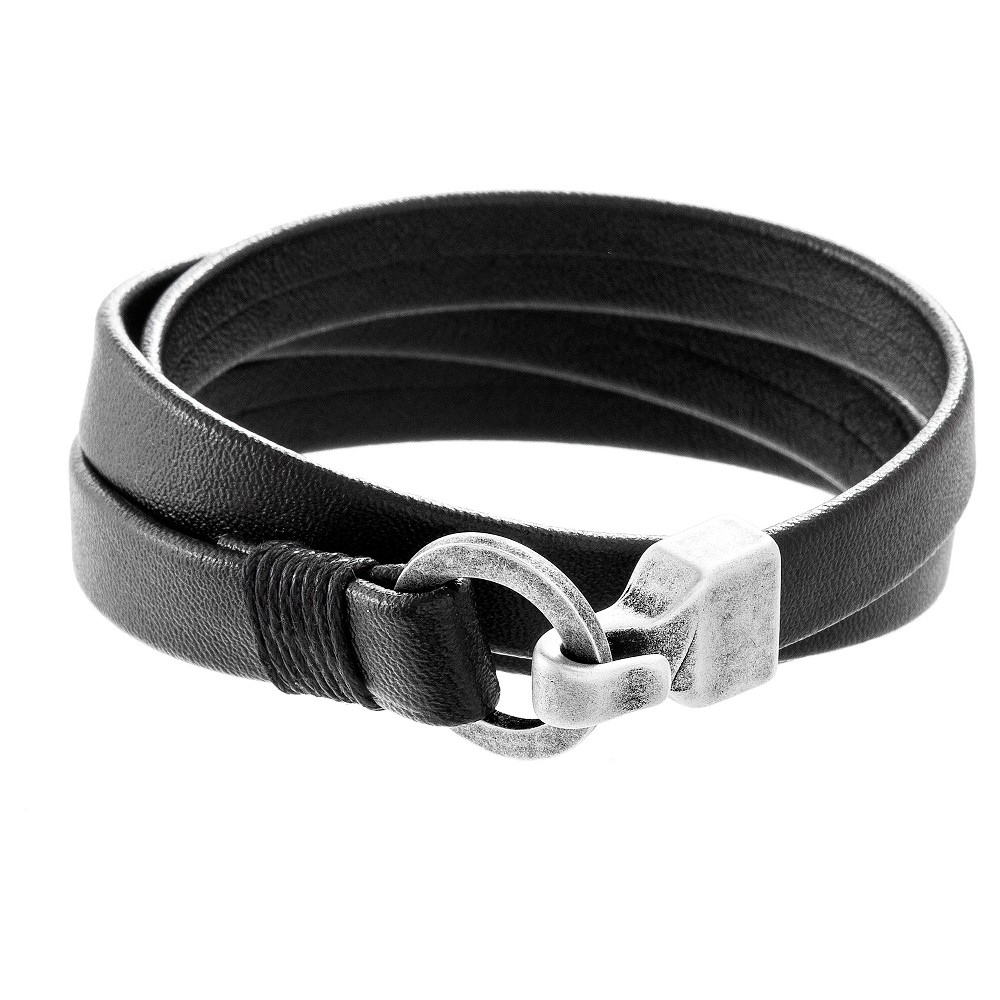 Image of Silver-Tone Stainless Steel Men's Hook Wrap Around Leather Bracelet, Silver