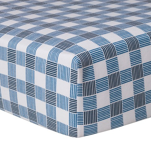 Crib Fitted Sheet Gingham - Cloud Island™ Blue - image 1 of 2