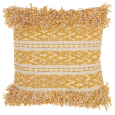 """20""""x20"""" Oversize Life Styles Criss Cross Stitched Square Throw Pillow - Mina Victory"""