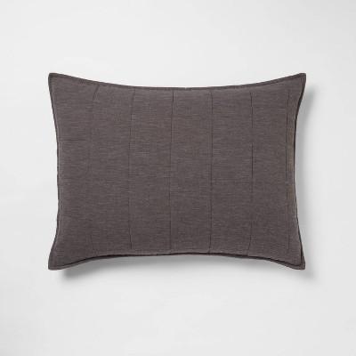 Standard Space Dyed Cotton Linen Sham Dark Gray - Threshold™