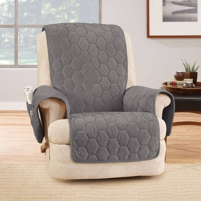 Silky Touch Recliner Furniture Protector Dark Gray - Sure Fit