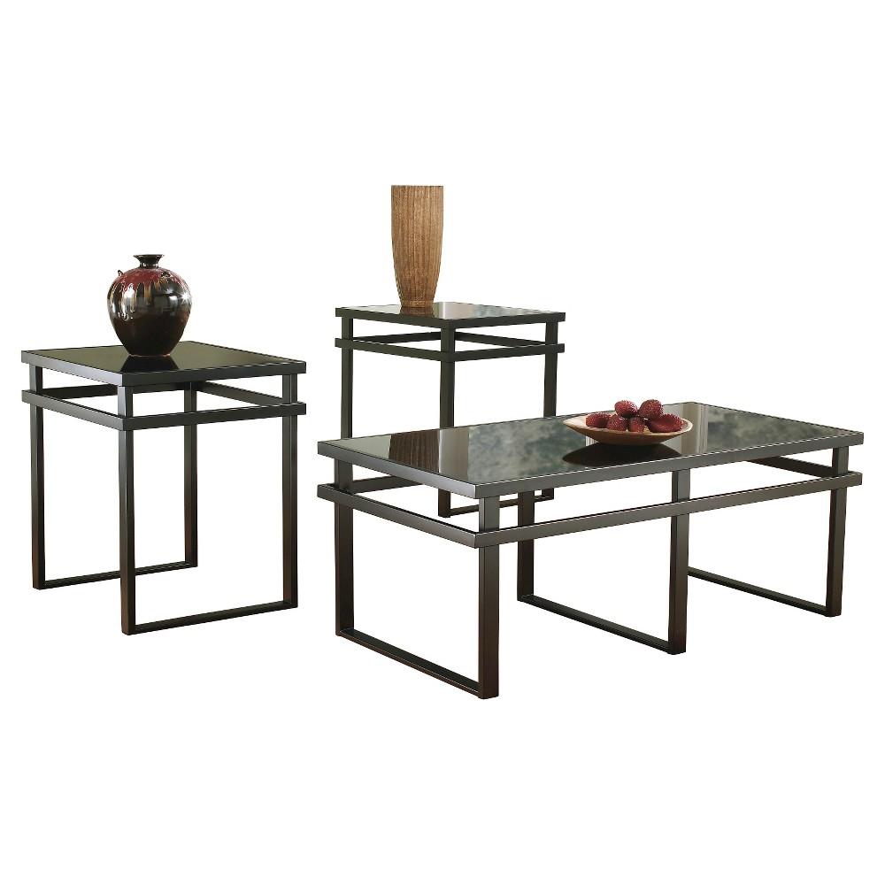 Laney Occasional Table Set Black (Set of 3) - Signature Design by Ashley, Black Universe